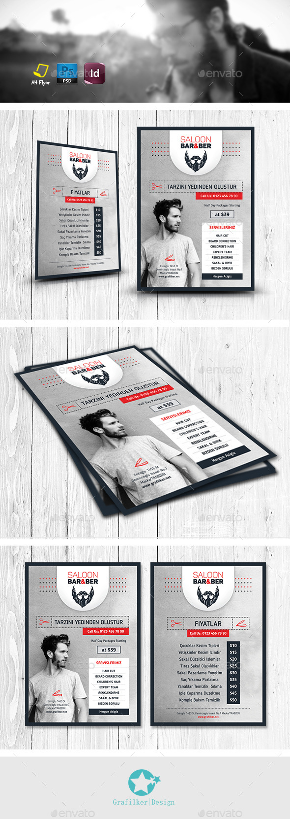 Barber Saloon Flyer Templates by grafilker | GraphicRiver