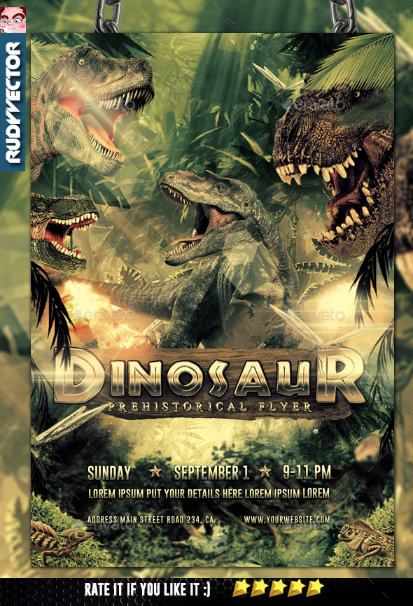 Dinosaur Prehistoric Event Theme Flyer - Events Flyers