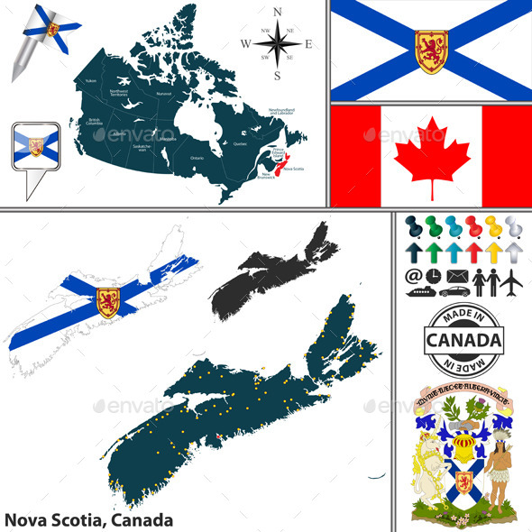Map of Nova Scotia, Canada - Travel Conceptual