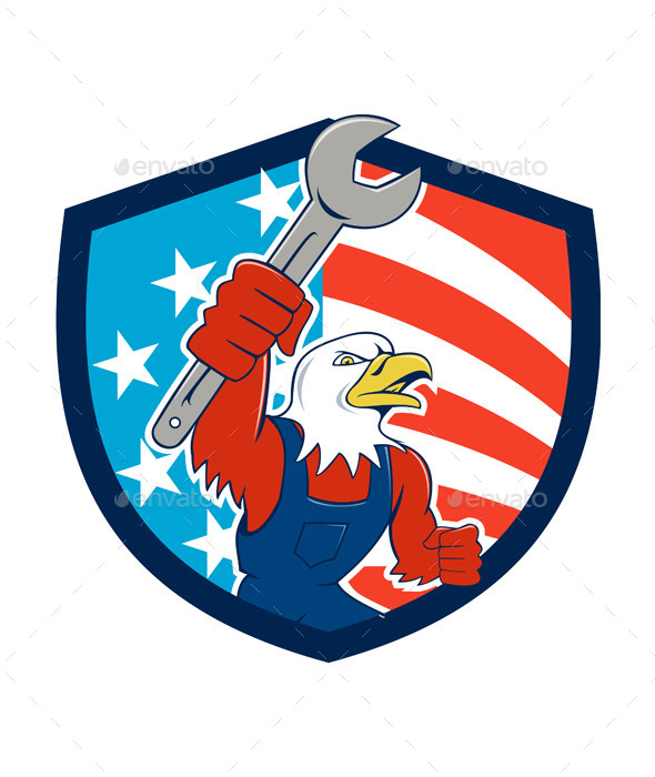 American Bald Eagle Mechanic USA Flag Shield - Animals Characters