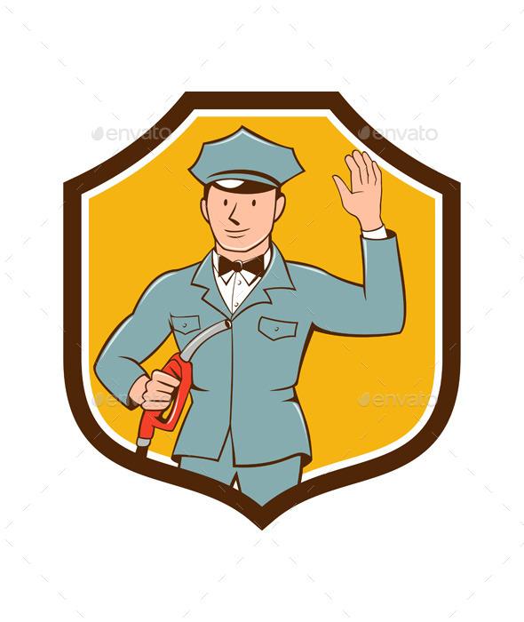 Gas Jockey Attendant Waving Shield Cartoon - People Characters