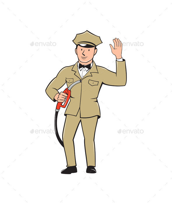 Gas Jockey Attendant Waving Isolated Cartoon - People Characters