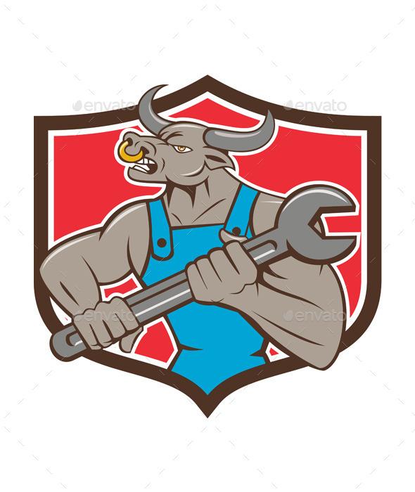 Mechanic Minotaur Bull Spanner Shield Cartoon - Animals Characters