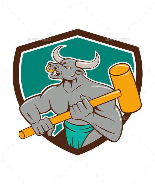 Minotaur Wielding Sledgehammer Shield Cartoon - Animals Characters