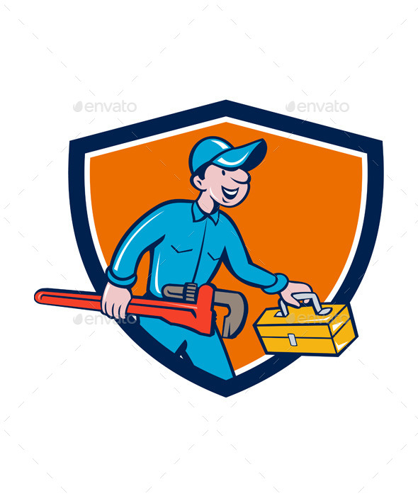 Plumber Carrying Monkey Wrench Toolbox Shield - People Characters