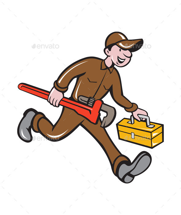 Plumber Carrying Monkey Wrench Toolbox Cartoon - People Characters