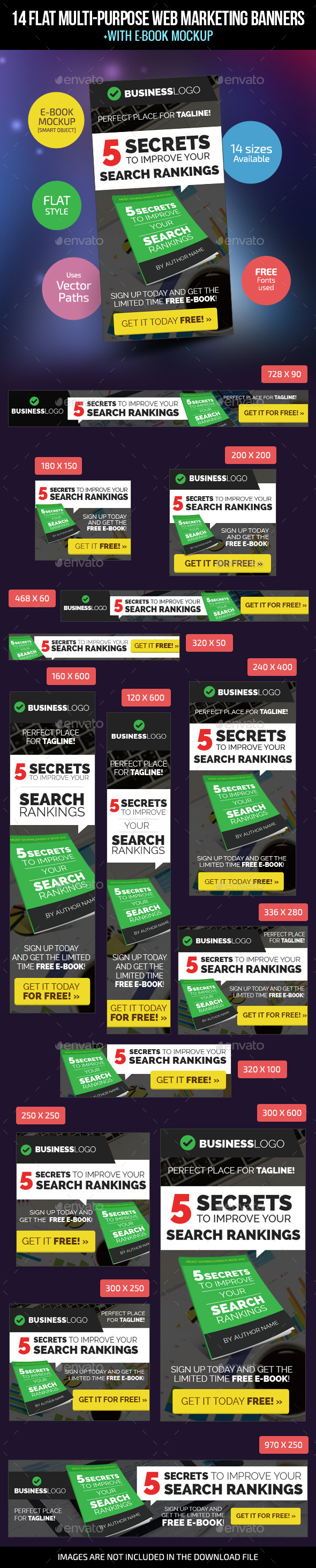14 Flat Multi-Purpose Web Marketing Banners - Banners & Ads Web Elements