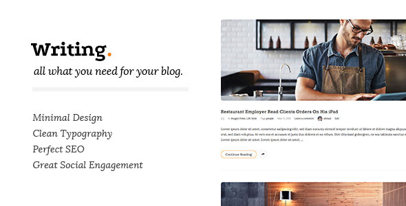 Writing Clean & Minimal Blog WordPress Theme
