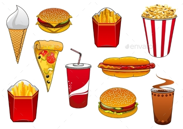 Fast Food with Meal and Drinks - Food Objects