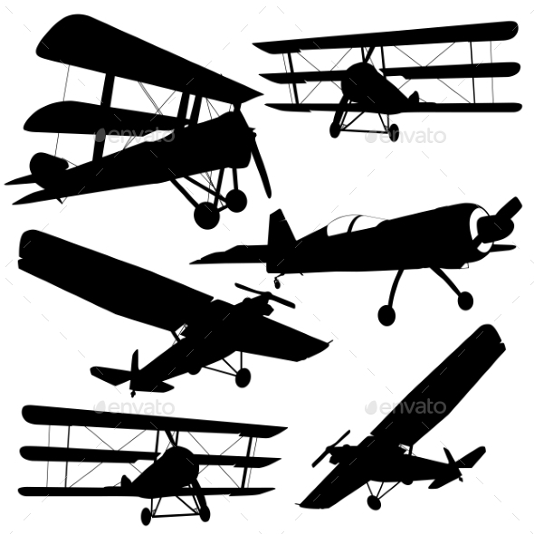 Collection of Different Combat Aircrafts - Web Elements Vectors