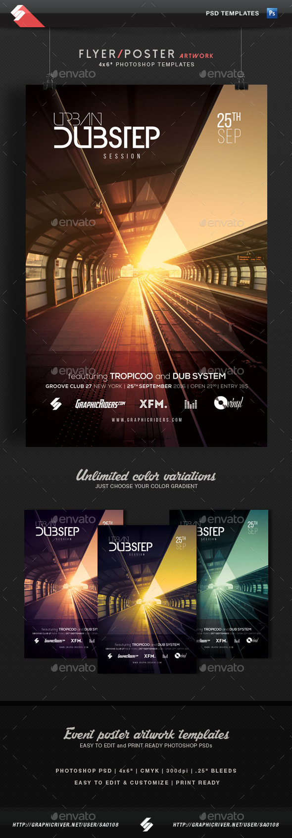 Urban Dubstep Session - Party Flyer Template - Clubs & Parties Events