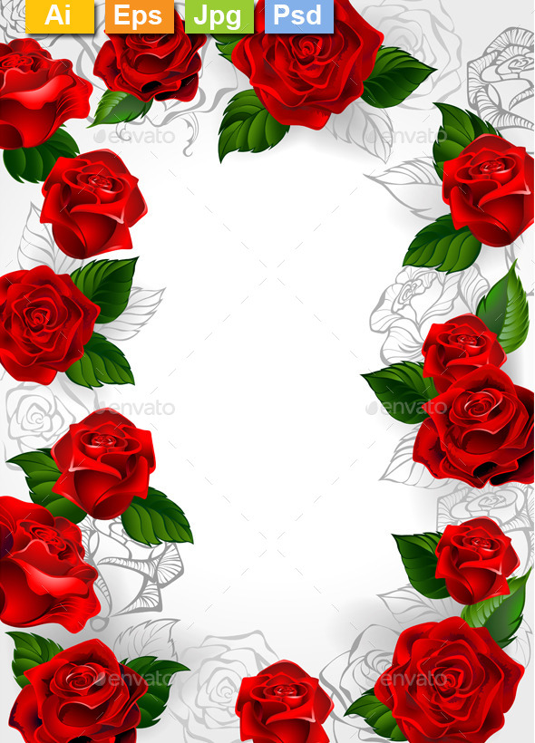 Frame of Red Roses - Borders Decorative