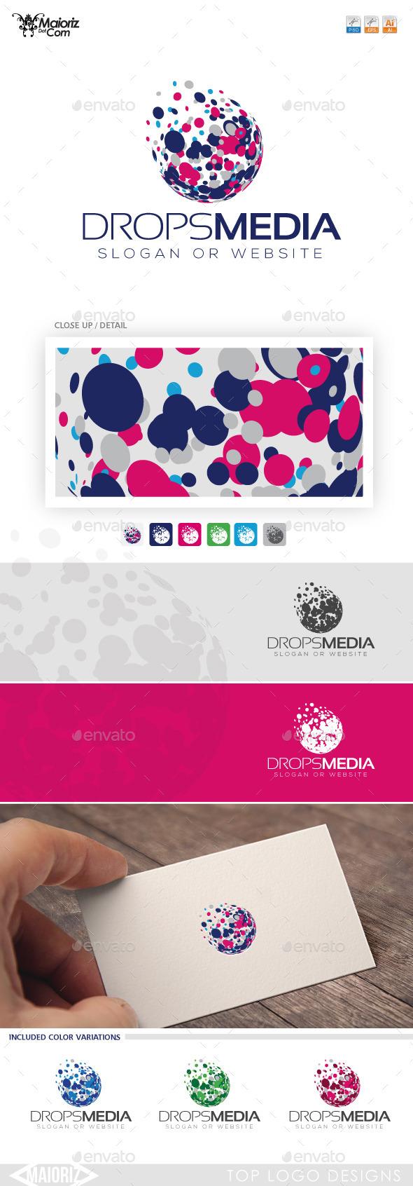 Drops Media Logo Template - 3d Abstract