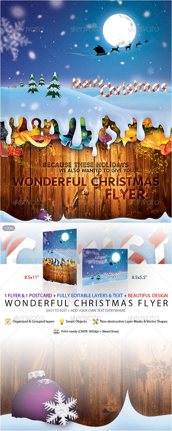 Wonderful Christmas Flyer & Postcard - Holidays Events
