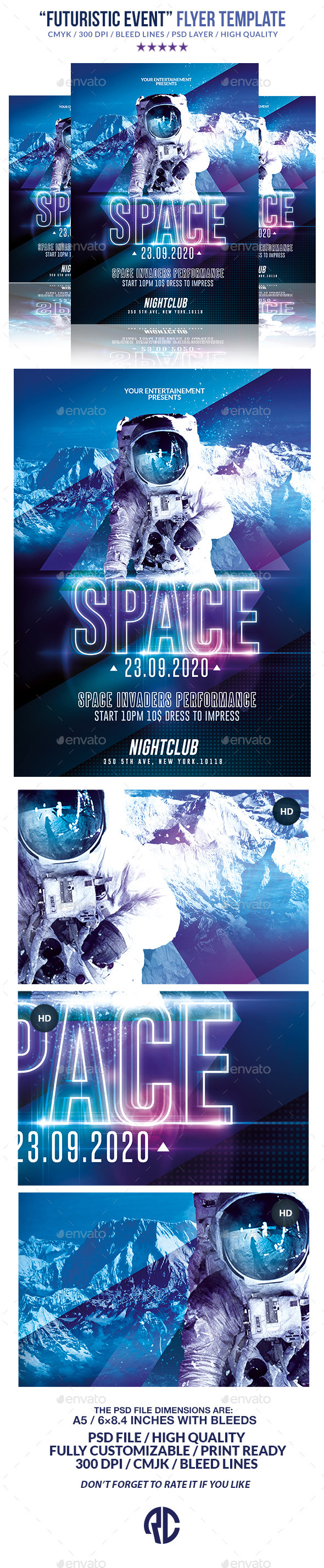 Futuristic Night Event | Psd Flyer Templates - Events Flyers