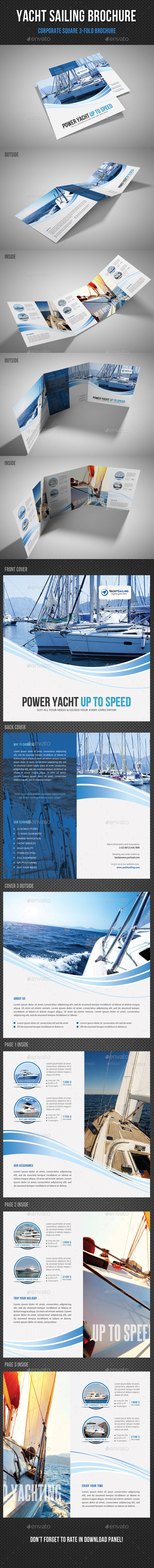Yacht Boat Sailing Square 3-Fold Brochure 03 - Corporate Brochures