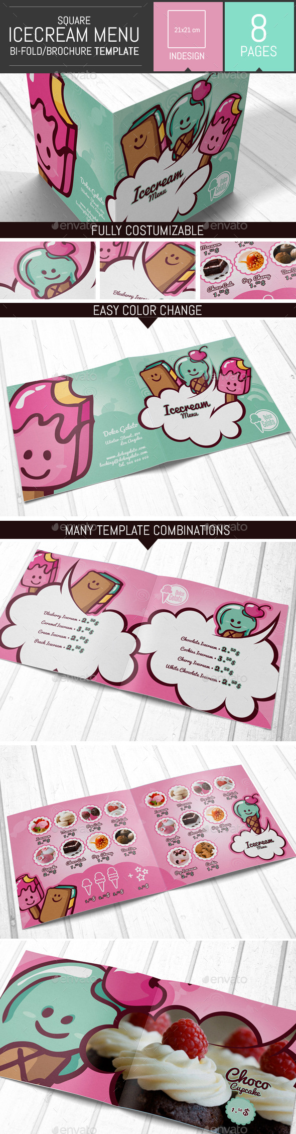 Illustrations Ice cream Brochure Menu Template  - Food Menus Print Templates