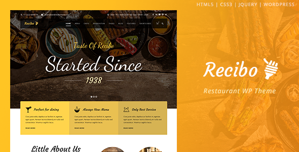 Recibo - Restaurant / Food / Cook WordPress Theme - Food Retail