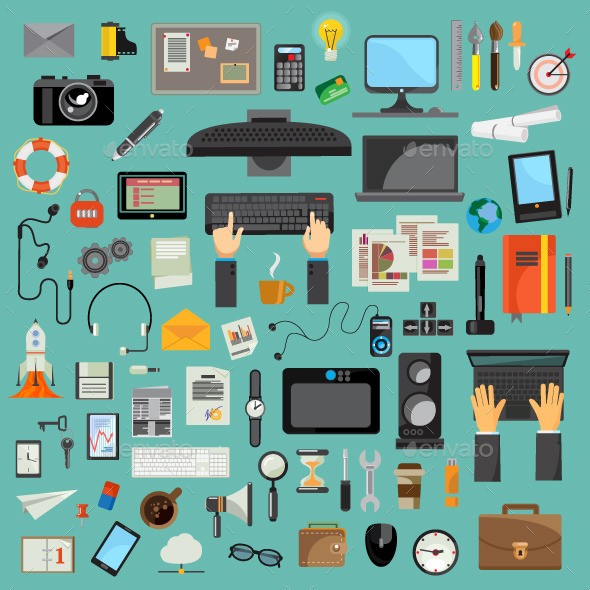 Computers Technology and Stationery Icons - Vectors