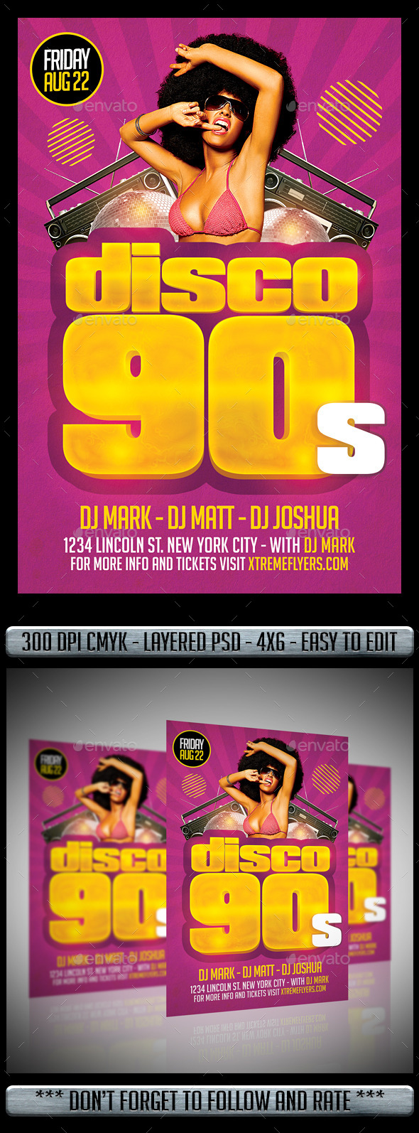 Disco 90s Flyer - Flyers Print Templates