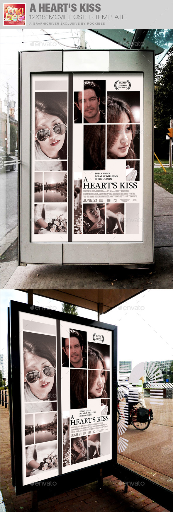 A Heart's Kiss Movie Poster Template - Miscellaneous Events