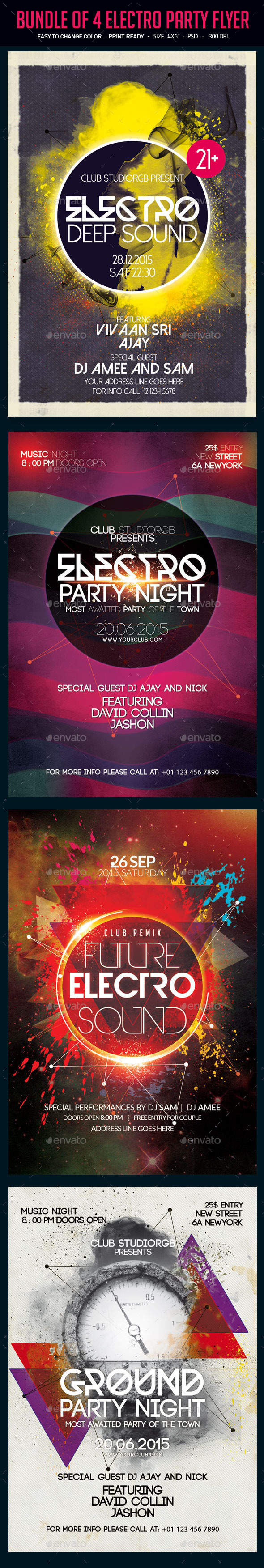 Bundle of 4 Electro Party Flyer vol. 2 - Clubs & Parties Events