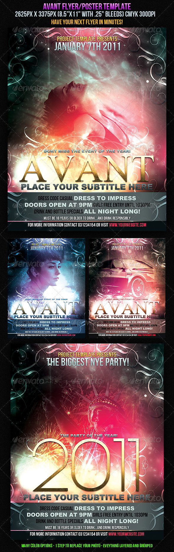 Avant Flyer/Poster Template. - Clubs & Parties Events