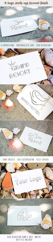 6 Logo Mock-ups Summer Beach - Logo Product Mock-Ups