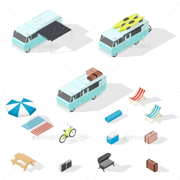Motorhome And Camping Accessories Isometric Icons - Travel Conceptual