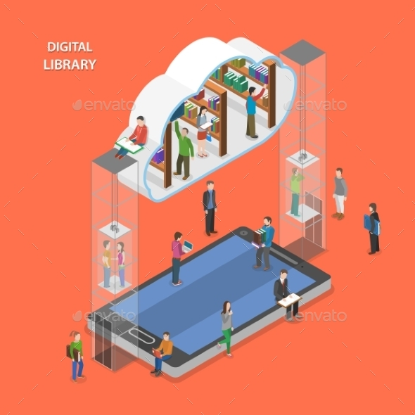 Digital Library Flat Isometric Vector Concept. - Computers Technology