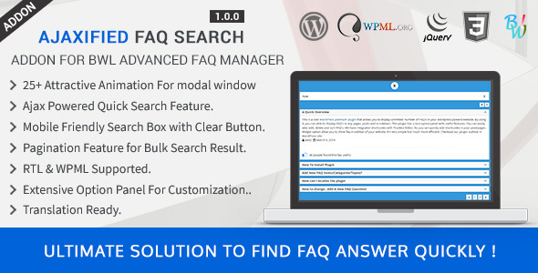 Ajaxified FAQ Search - Advanced FAQ Addon - CodeCanyon Item for Sale