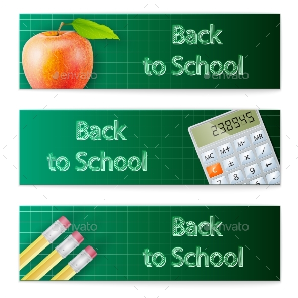 Banner Set Back to School - Web Technology