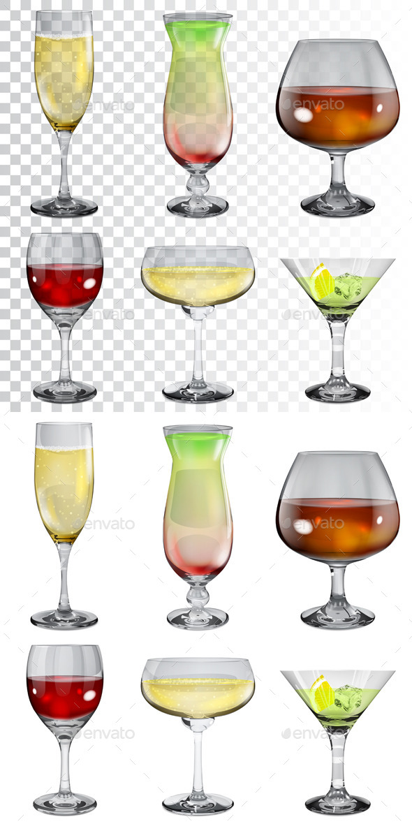 Glass Goblets With Drinks - Man-made Objects Objects