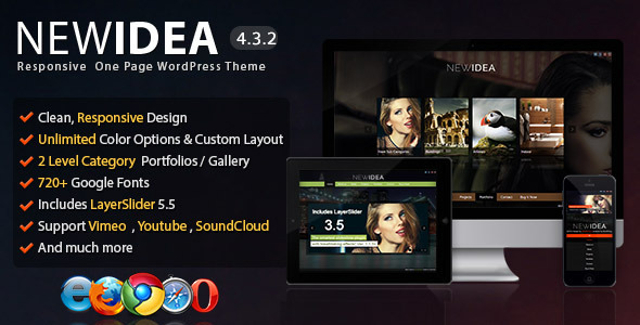 New Idea – Responsive One Page WordPress Theme