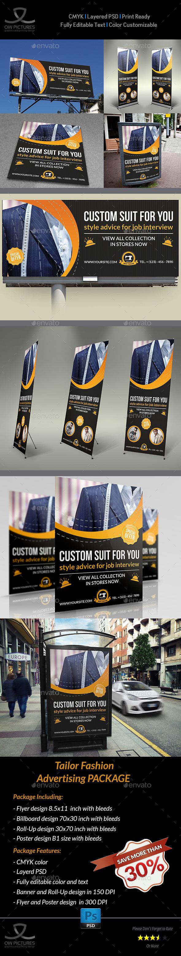 Tailor Fashion Advertising Bundle - Signage Print Templates