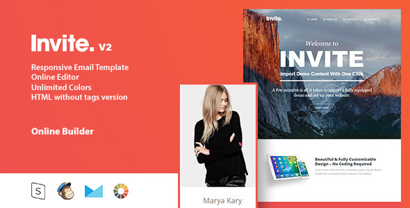 invite - Responsive Email Template + Online Editor