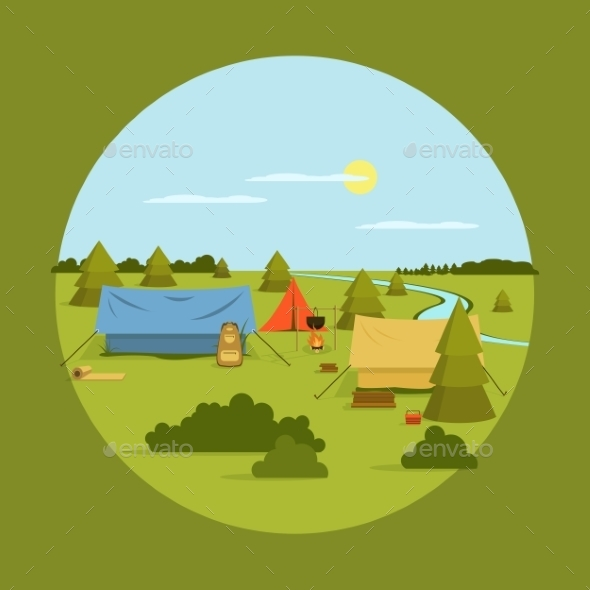Vector Image Of Camping On Vocation - Landscapes Nature