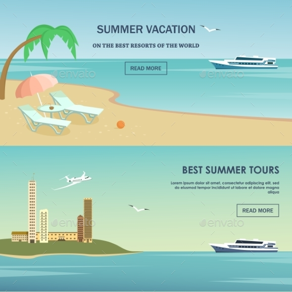 Summer Vacation Greeting Card Design. - Travel Conceptual