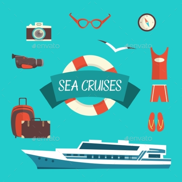Tourism Concept Image Sea Vacation Flat Vector - Travel Conceptual