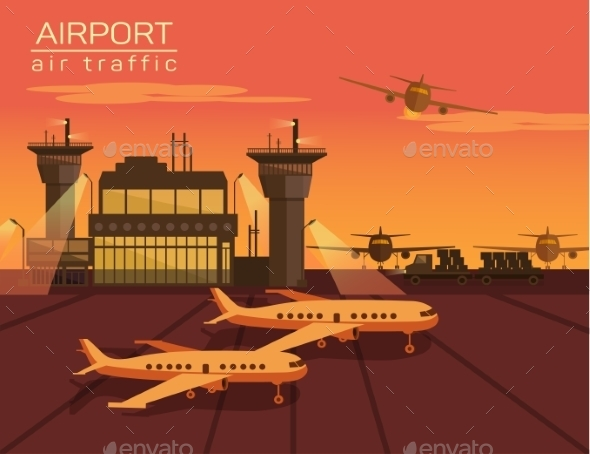 Vector Illustration Of Airport - Travel Conceptual