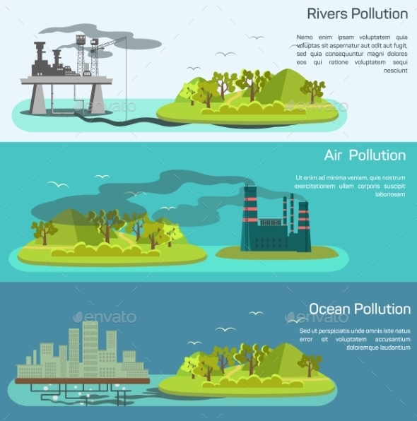 Vector Landscape With Air, Ocean Pollution. - Flowers & Plants Nature