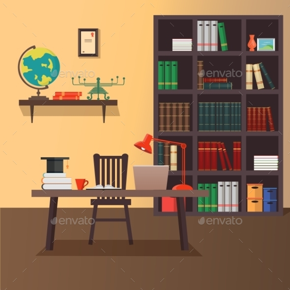 Vector Illustration Of Modern Home Office - Computers Technology