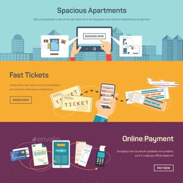 Vector Illustration Of Reserving Tickets Online. - Web Technology