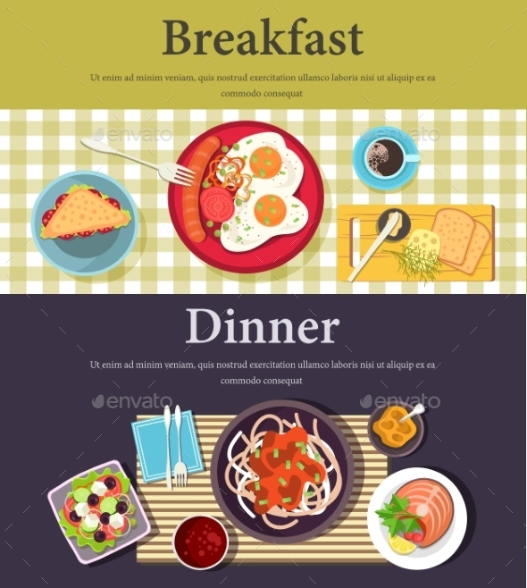 Vector Picture Of Breakfast, Dinner At Restaurant - Food Objects