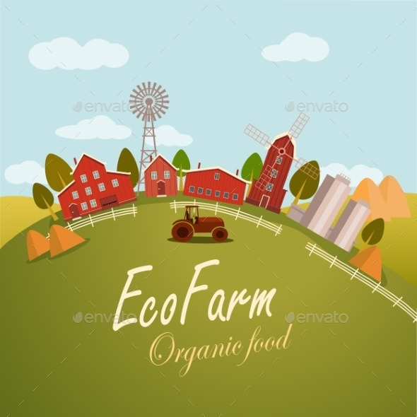 Vector Illustration For Fresh Food. Eco Farm - Food Objects