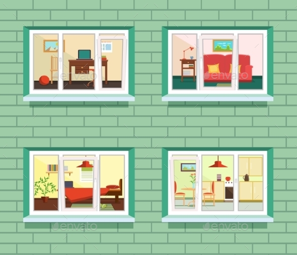 Vector Window View Of Flat Design - Buildings Objects