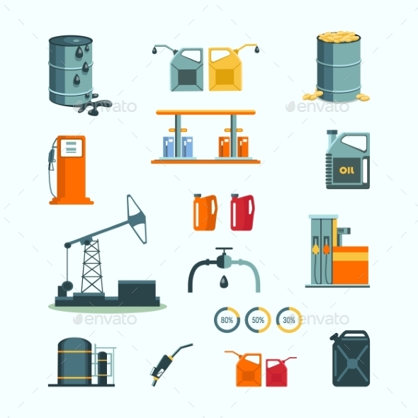 Oil And Petrol Industry Vector Objects  - Concepts Business