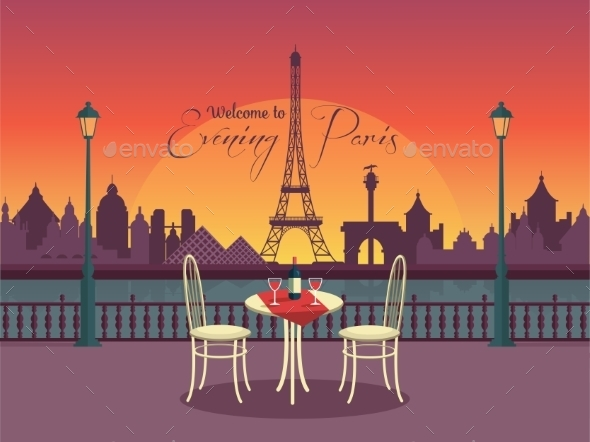 View Of Vector Evening Paris From The Cafe - Travel Conceptual