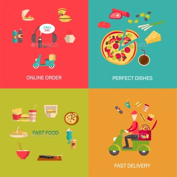 Vector Illustration Of Online Food Shopping. - Food Objects