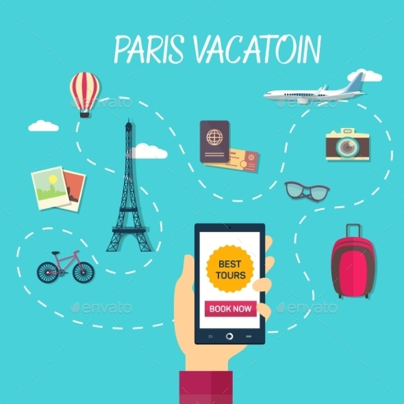 Vector Path Of Travel Through France - Travel Conceptual
